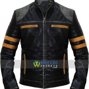 Cafe Racer Retro Striped Vintage Distressed Biker Quilted Black Leather Jacket