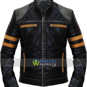 Cafe Racer Retro Striped Vintage Distressed Biker Quilted Black Leather Jacket