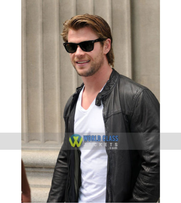 Chris Hemsworth Black Biker Leather Jacket