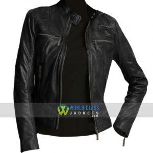 Ladies Attractive Style Black Leather Slim Fit Jacket
