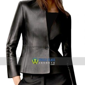 Ladies Casual Office Slim Fit Black Faux Leather Coat Jacket