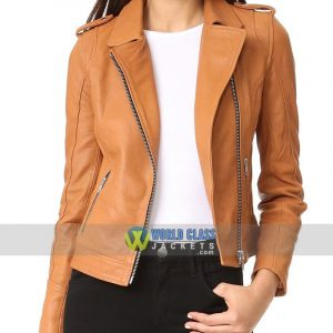 Ladies Tan Slim Fit Motorcycle Leather Jacket