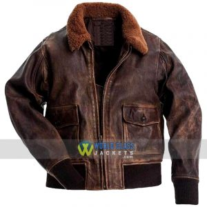 Men's G1 Navy Brown Distressed Cow Hide Genuine Leather Flight Bomber Jacket
