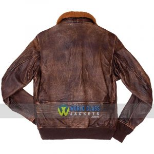 Men's G1 Navy Brown Distressed Genuine Leather Flight Bomber Jacket