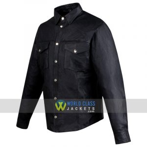 Mens Motorcycle Cowhide Leather Black Full Sleeves Poly Liner Black Jacket