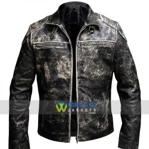 Mens Vintage Motorcycle Retro Distressed Black Antique Biker Leather Jacket