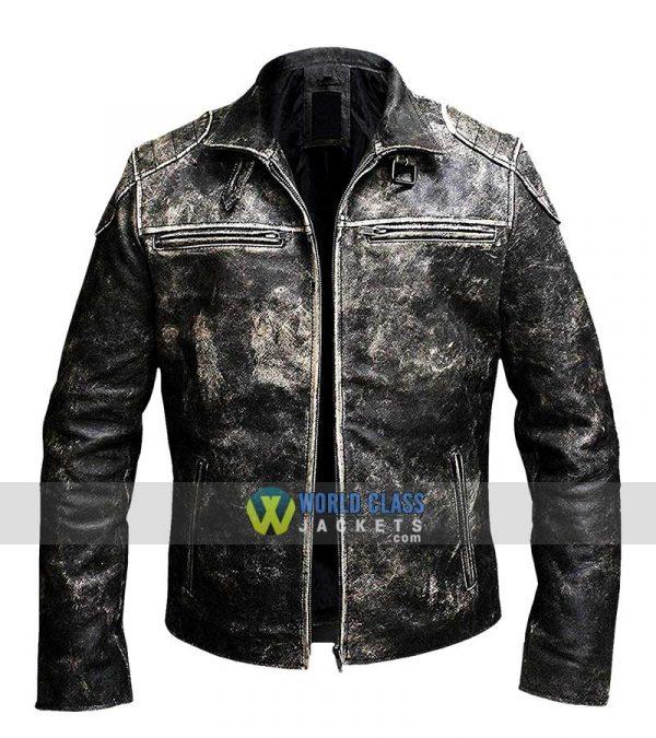 Mens Vintage Motorcycle Retro Distressed Black Antique Biker Leather Jacket