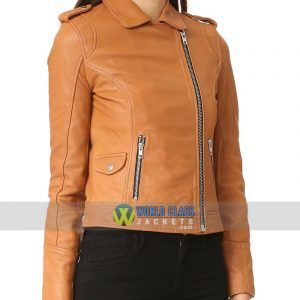Tan Slim Fit Ladies Motorcycle Leather Jacket