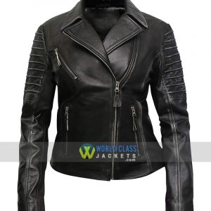 Women Distress Cafe Racer Jacket in Real Cowhide Leather