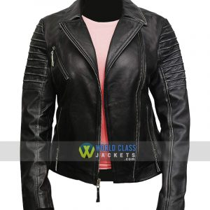 Women Distress Cafe Racer Real Cowhide Leather Jacket