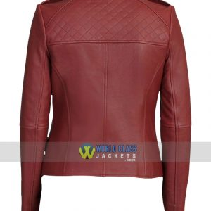 Women Maroon Collarless Biker Slim Fit Leather Jacket