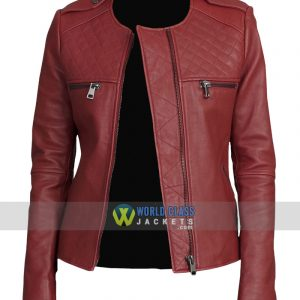 Women Maroon Faux Leather Collarless Biker Slim Fit Jacket