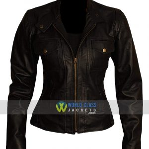 Women Real Leather Slim Fit Biker Leather Jacket