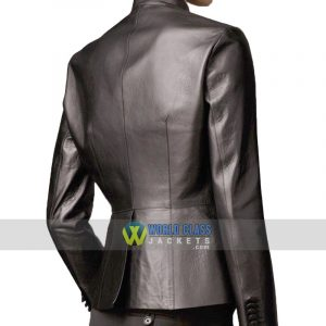 Womens Casual Office Slim Fit Black Faux Leather Coat Jacket