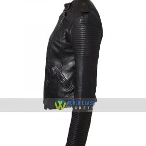 Cafe Racer Women Black Leather Biker Jacket