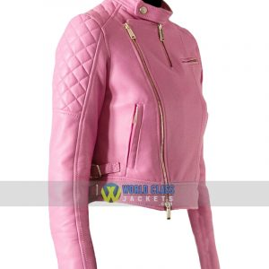 Ladies Pink Slim Fit Biker Leather Jacket