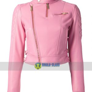 Ladies Pink Leather Slim Fit Biker Leather Jacket