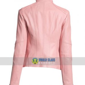 Ladies Pink Motorcycle Slim Fit Leather Jacket