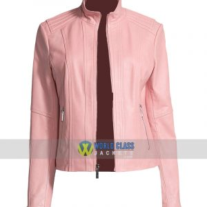 Ladies Pink Slim Fit Moto Biker Leather Jacket