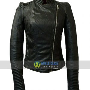 Ladies Real Leather Black Cafe Racer Slim Fit Jacket