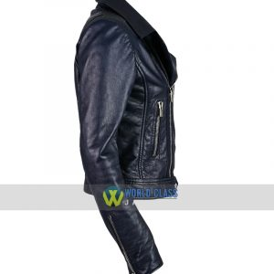Ladies Slim Fit Blue Leather Moto Biker Jacket