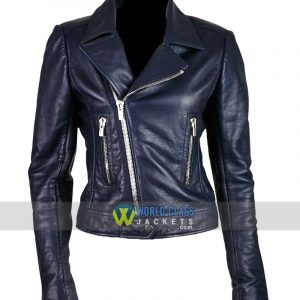 Ladies Slim Fit Blue Leather Moto Biker Leather Jacket