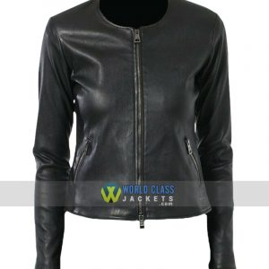 Ladies Slim Fit Collarless Biker Real Leather Jacket
