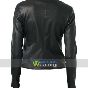 Ladies Slim Fit Collarless Real Leather Biker Jacket