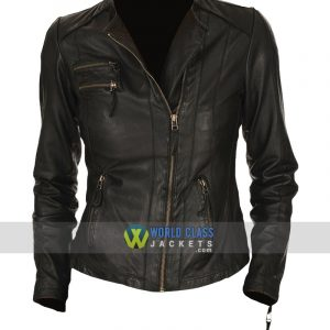 Ladies Unique Style Real Black Leather Biker Jacket