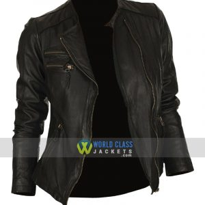 Ladies Unique Style Real Leather Black Biker Jacket