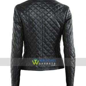 Women Biker Quilted Diamond Black Leather Jacket
