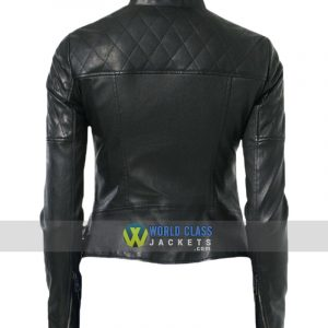 Women Biker Real Black Leather Moto Jacket