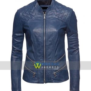 Women Blue Cafe Racer Slim Fit Motorcycle Leather Jacket