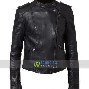 Women Cafe Racer Black Leather Biker Jacket