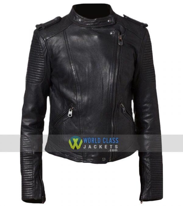 Women Cafe Racer Black Leather Biker Jacket