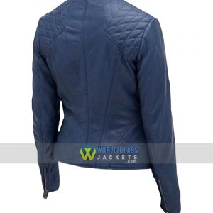 Women Cafe Racer Slim Fit Motorcycle Blue Leather Jacket