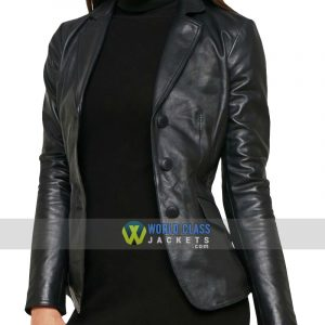 Women Casual Black Leather Office Slim Fit Blazer