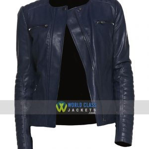 Women Casual Collarless Blue Leather Slim Fit Jacket