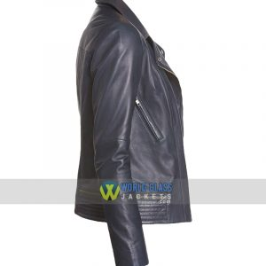 Women Casual Navy Blue Biker Leather Jacket