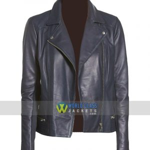 Women Casual Navy Blue Leather Biker Jacket