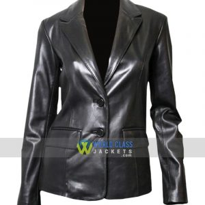 Women Casual Office Black Leather Blazzer Jacket