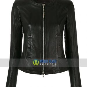 Women Casual Party Black Leather Slim Fit Collarless Jacket