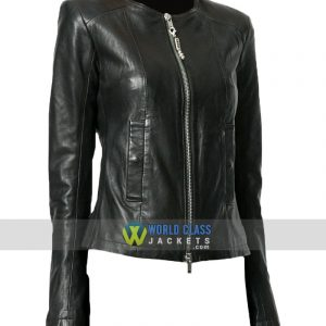 Women Casual Party Slim Fit Collarless Black Leather Jacket