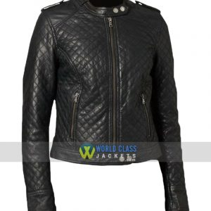 Women Classic Quilted Diamond Real Leather Biker Jacket