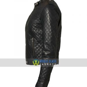 Women Classic Quilted Diamond Real Leather Black Biker Jacket