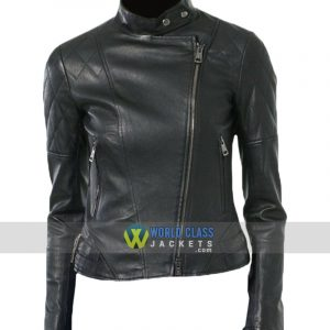 Women Moto Real Black Leather Biker Jacket