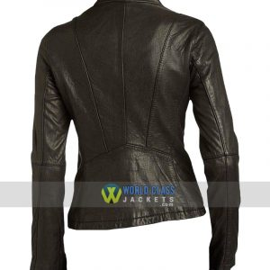 Women Moto Style Genuine Black Leather Slim fit Biker Jacket