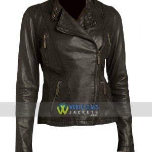 Women Moto Style Genuine Leather Slim fit Biker Jacket