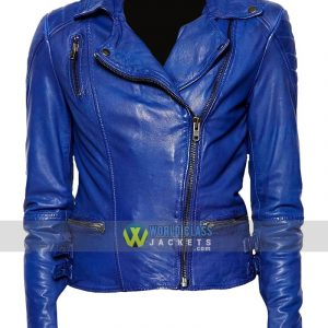 Women Motorcycle Blue Leather Slim Fit Biker Jacket