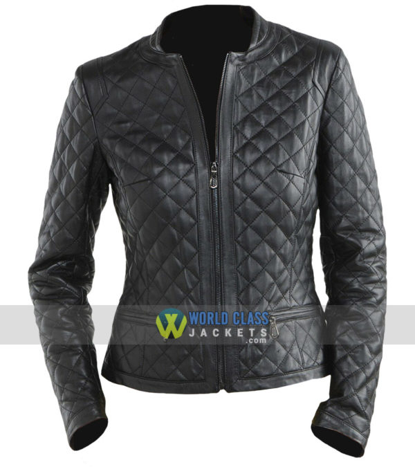 Women Quilted Diamond Black Leather Biker Jacket
